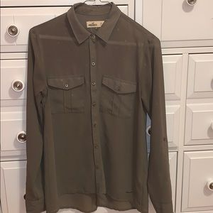 olive green button down shirt with gold polka dots
